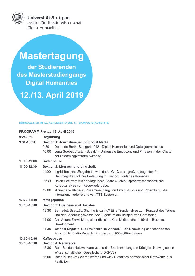 Programm Mastertag 2019 1