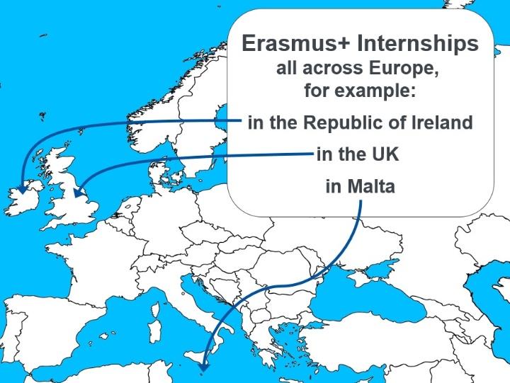 Europakarte mit markierten englischsprachigen Ländern für Praktika