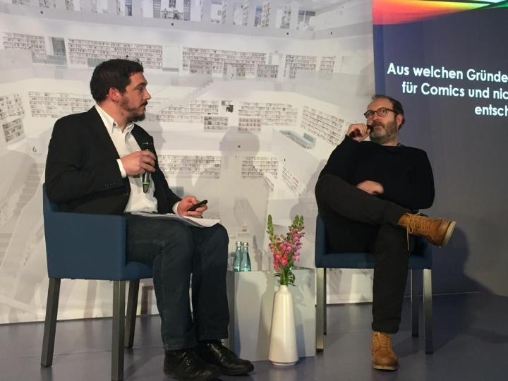Christophe Gaultier (rechts) im Gespräch mit Dr. Marc Blancher (c) © Laure Vimont 2019 (abgebildet mir ihrer freundlichen Genehmigung)