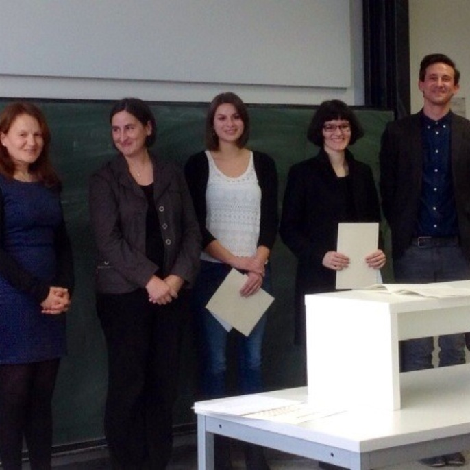 Preisträger 2013. v.l.: Dr. Claudia Löschner, Prof. Dr. Andrea Albrecht, Miriam Unfried, Giovanna-Beatrice Carlesso, Dr. Marcus Willand