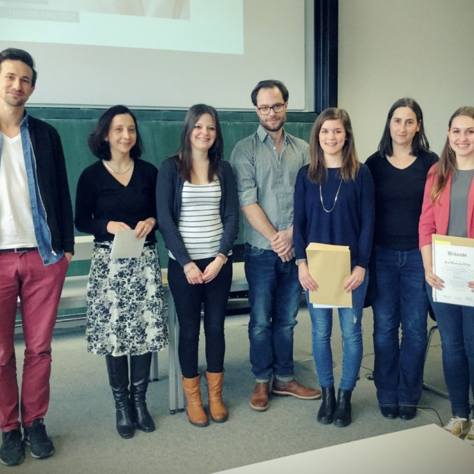 Preisträger 2015. v.l.: Dr. Marcus Willand, Dr. Cornelia Herberichs, Katrin Hudey, Dr. Axel Pichler, Nora Echelmyer, Prof. Dr. Andrea Albrecht, Julia Koch