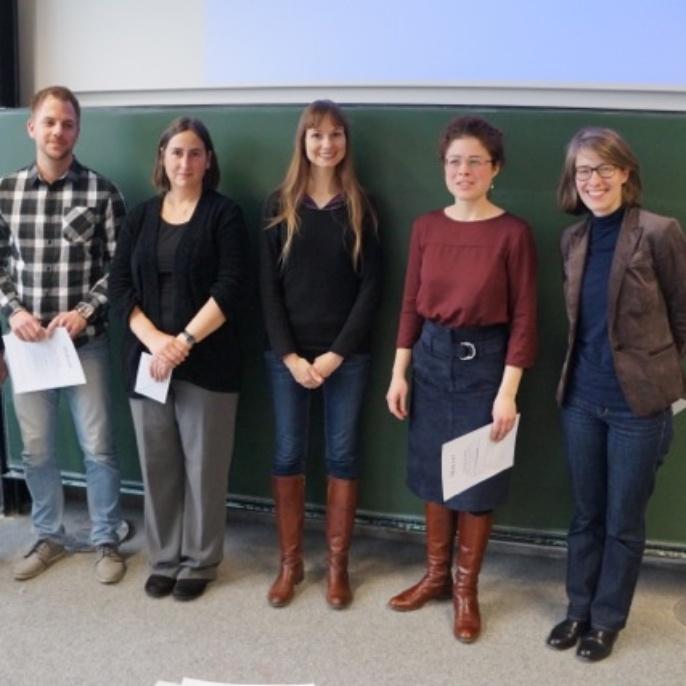 Preisträger 2016. v.l.: Janina Enderle; Philipp Heiter; Prof. Dr. Andrea Albrecht; Sophie Marschall, M.A.; Sofia Schneeweiss; Dr. Marie Wokalek